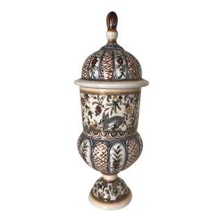 1970s Vintage Portuguese Majolica Ceramic Potpourri Jar