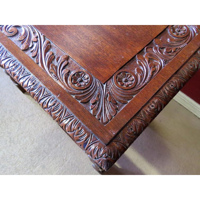 Hollywood Regency Carved Walnut Console Table For Sale - Image 3 of 6