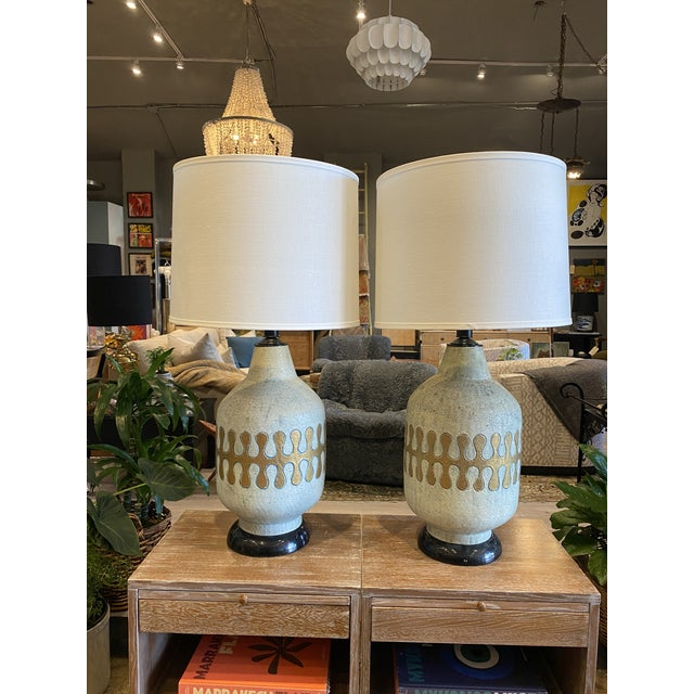 Sky Blue American Mid-Century Modern Ceramic Lamps - Pair For Sale - Image 8 of 8
