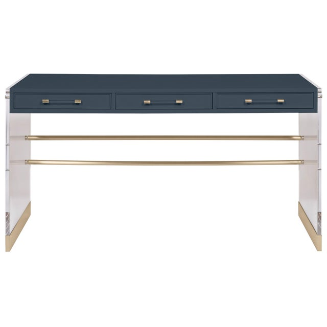 Transitional Casa Cosima Arden Desk with Taper Leg Base, Hale Navy For Sale - Image 3 of 3