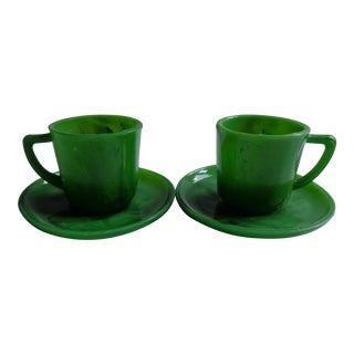 Mid-Century Green Swirl Glass Espresso Cups & Saucers, Pair