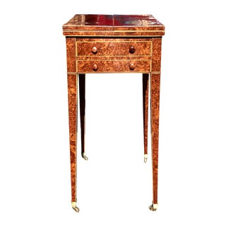 19th Century English Traditional Burled Walnut George III Work Table For Sale