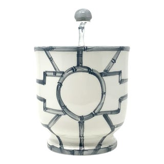 Bamboo Fret Cotton Jar in Graphite For Sale