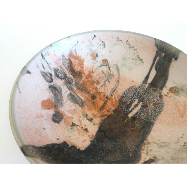 Vintage Mid Century Modern Studio Pottery Abstract Expressionist Signed Ceramic Bowl For Sale - Image 10 of 13