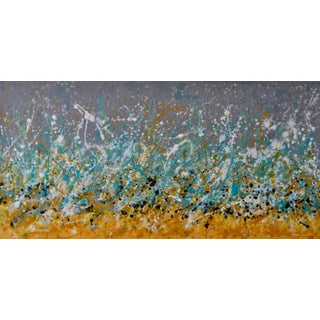 """""""Skiu"""" Abstract Yellow, Blue, Gray Landscape Encaustic Painting For Sale"""