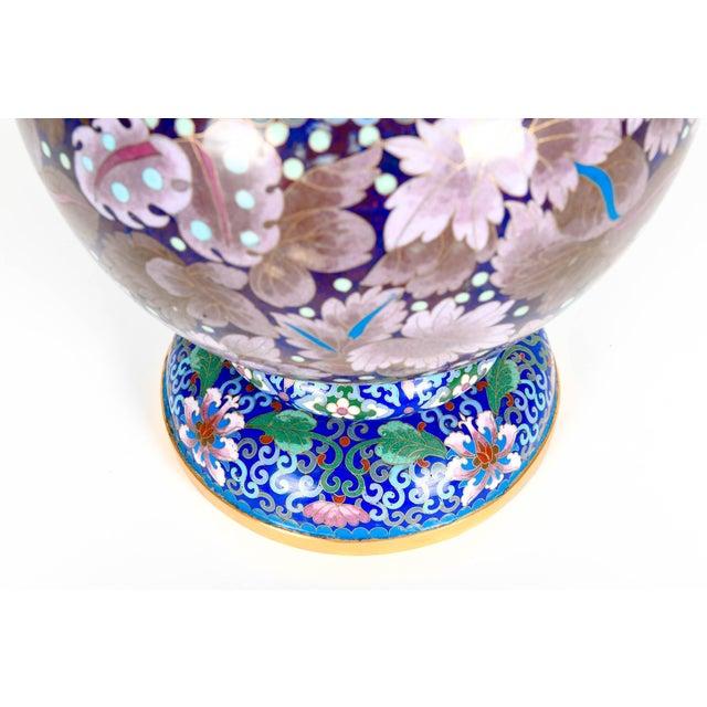 Blue Vintage Gilt Brass Interior Cloisonné Decorative Vase For Sale - Image 8 of 13