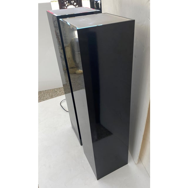 Vintage Pedestals Illuminated Black and Frosted Lucite - a Pair For Sale - Image 4 of 12