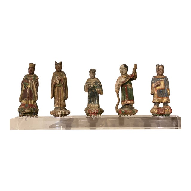 Chinese Figures on Acrylic Base For Sale