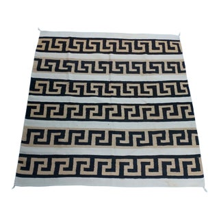 Navajo Hand Woven Wool Rug - w/Brown Labyrinth Patterns -circa 1930s