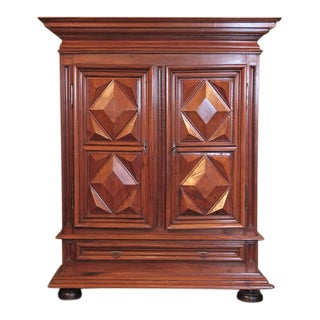 French Louis XIII Walnut Diamond Shape Armoire For Sale