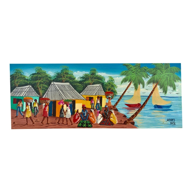 Colorful Signed Haitian Painting For Sale