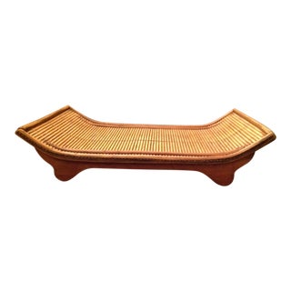 1990s Asian Inspired Rattan Wood Tray For Sale