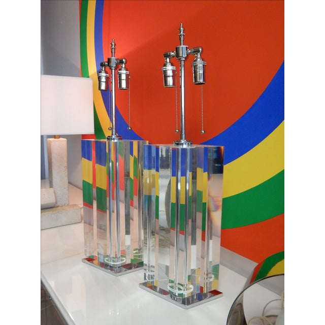 Pair of Massive Lucite Lamps, 1970s For Sale - Image 11 of 11