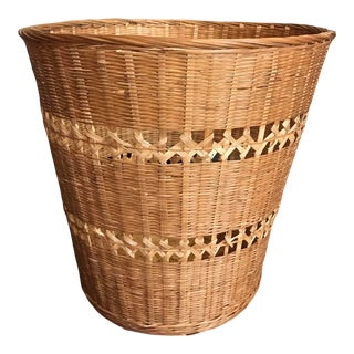 Natural Wicker Wastebasket For Sale