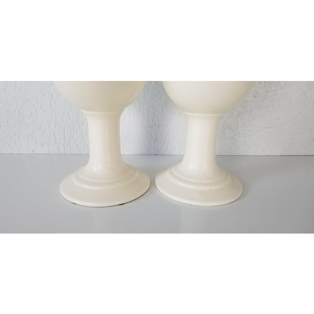 1970s Vintage Royal Haeger Flat White Glazed Ceramic Vases - a Pair For Sale - Image 5 of 7