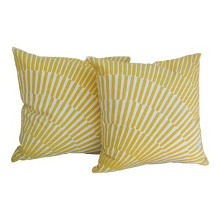 Yellow and White Throw Pillows- a Pair For Sale