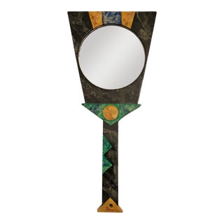 Hand Painted Postmodern Hand Mirror For Sale