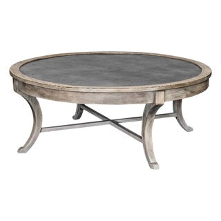 Distressed Mahogany Round Coffee Table For Sale