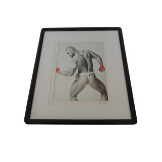 Nude Black and White Abstract Photograph of Male With Red Gloves For Sale
