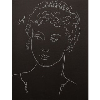 """""""Woman in Pearls"""" Contemporary White Charcoal Drawing by Sarah Myers For Sale"""