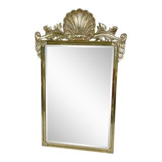 Vintage Decorative Arts Shell Pediment Brass / Bronze Mirror