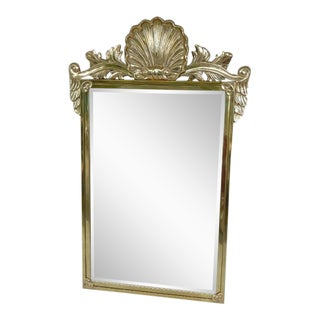 Vintage Decorative Arts Shell Pediment Brass / Bronze Mirror For Sale