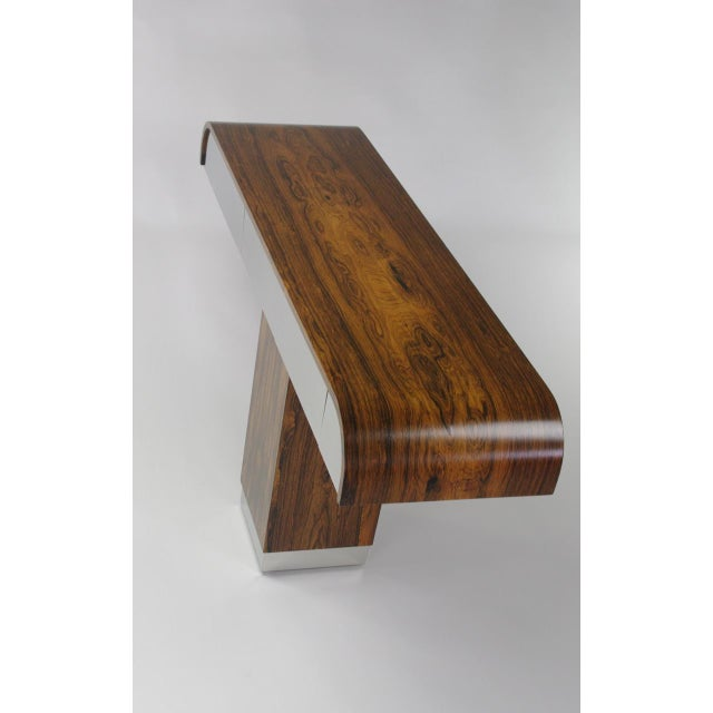 Rosewood & Chrome Pedestal Console - Image 4 of 11