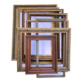 Vintage Boho Chic Wood Frames - Set of 8 For Sale