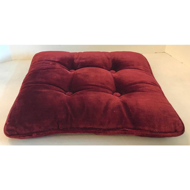 Textile Vintage Mid-Century Red Velvet Square Tufted Pillow For Sale - Image 7 of 9