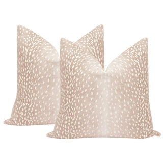 "22"" Blush Antelope Linen Print Pillows - a Pair For Sale"