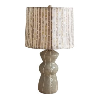 Jil Smith Gray Ceramic Table Lamp with Shade For Sale