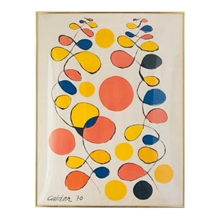 Abstract Calder Framed Lithograph, Signed and Dated For Sale