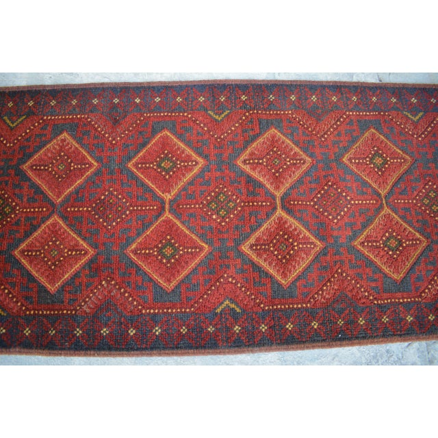 2010s Turkish Tribal Handmade Brown and Navy Wool Rug Runner For Sale - Image 5 of 6
