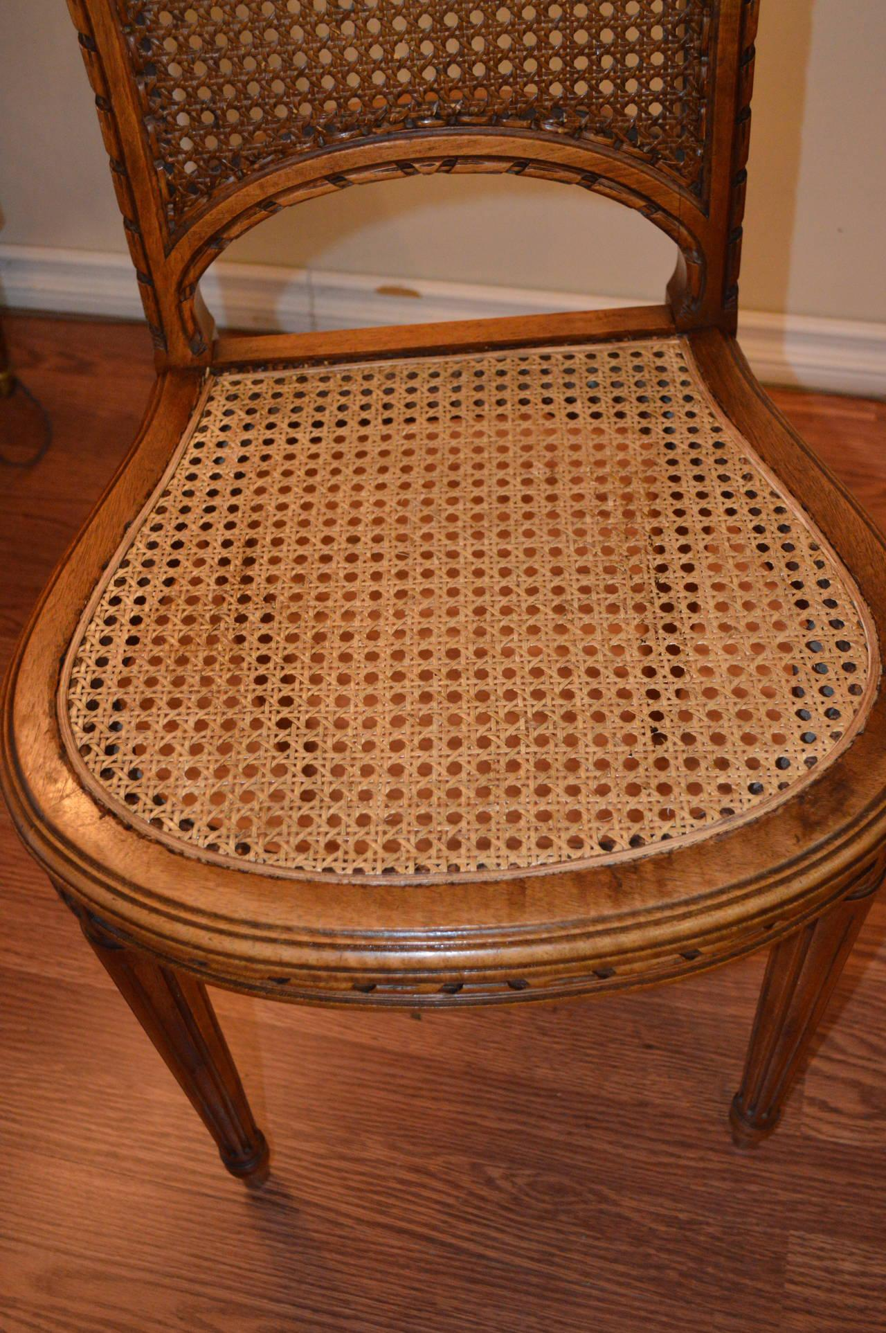 Caning Set Of 8 Louis XVI Style Oak Dining Chairs With Caned Back And Seat.