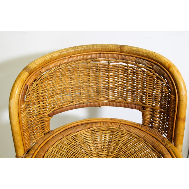 Mid 20th Century Vintage Swivel Woven Rattan Bar Stool, 1960s - a Pair For Sale - Image 5 of 13
