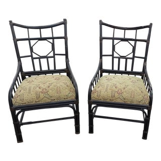 Pair of Vintage Palacek Chinese Chippendale Black Bamboo Rattan Arm Chairs For Sale