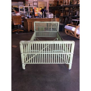 Green Shabby Chic Stick Rattan Twin Size Sleigh Bed Frame Preview
