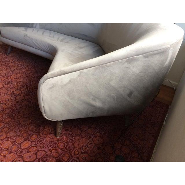 Vladimir Kagan for Weiman Gray Velvet Angled Sofa - Image 6 of 8