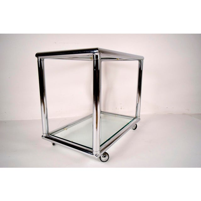 Mid-Century Modern Chrome End Tables - Pair - Image 5 of 7