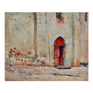 Mid 20th Century Abstract Architectural Painting, P Reynard French Artist For Sale