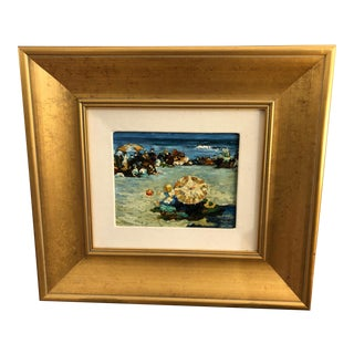 Impressionist Farm Landscape Painting in Gold Frame For Sale