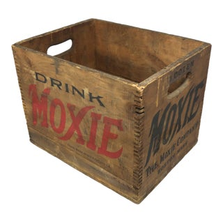 1900s Rustic Moxie Soda Wood Shipping Box For Sale