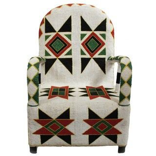 Nigerian Beaded Arm Chair For Sale