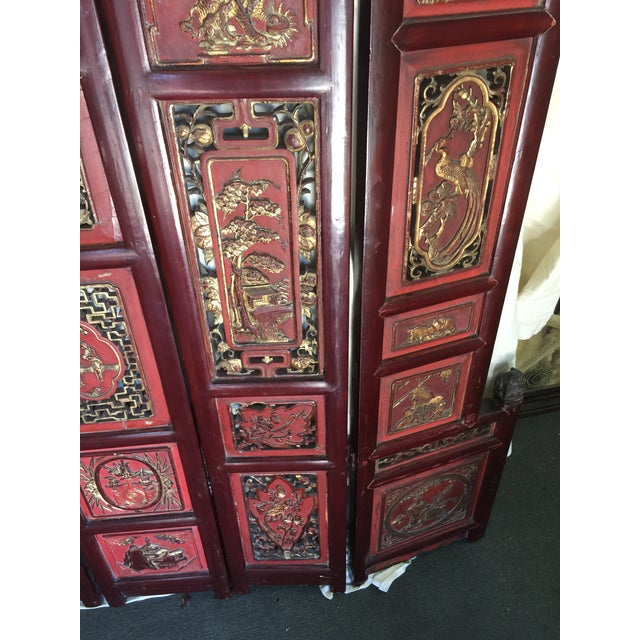 Asian Carved Antique Asian Screen Room Divider For Sale - Image 3 of 11
