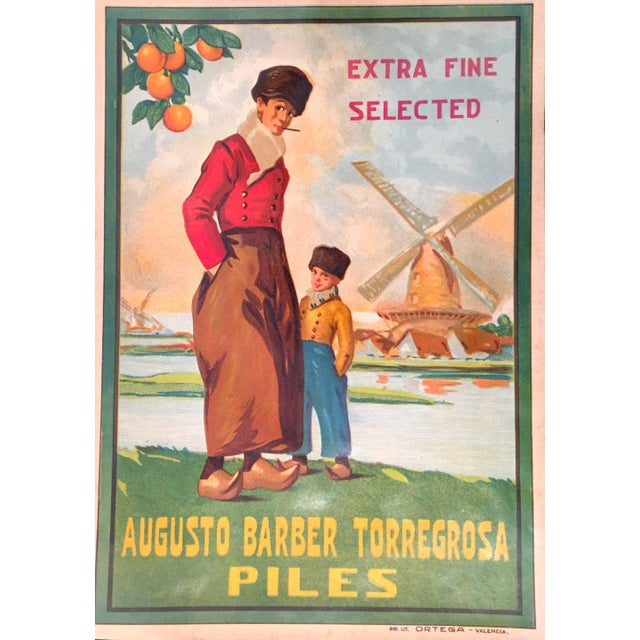 1930s Vintage Spanish Label, Windmill For Sale