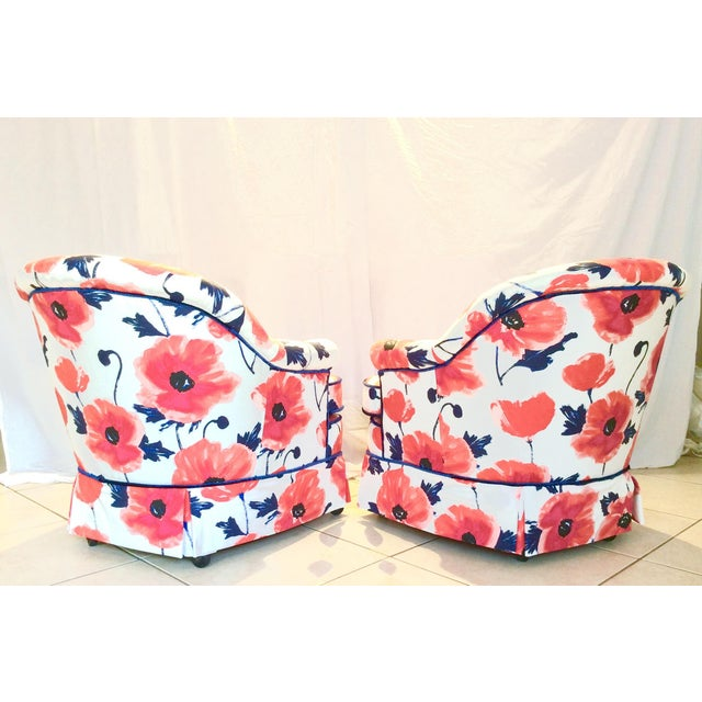 1990s Vintage Kate Spade Poppies Printed Fabric Swivel Chairs- A Pair For Sale - Image 4 of 10