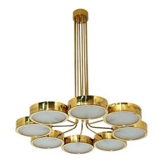 Mid-Century Italian Style Brass Chandelier For Sale