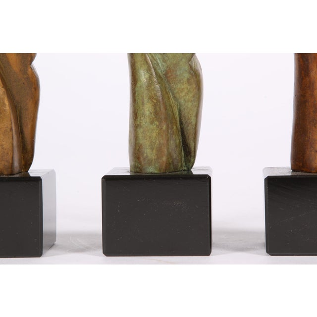 Abstract Group of Three Signed Modern Abstract Bronze Figures- in the Manner of Henry Moore For Sale - Image 3 of 7