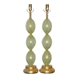 Vintage Murano Glass Stacked Egg Table Lamps Green For Sale