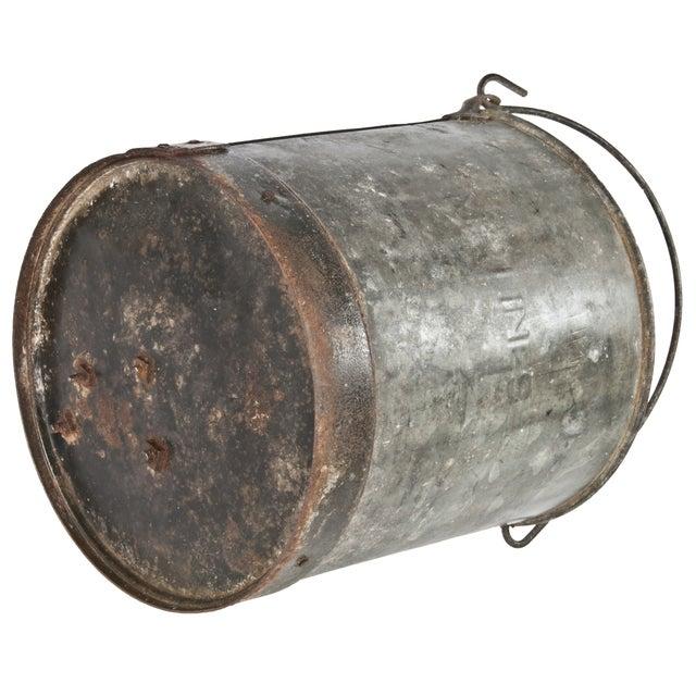 Industrial Vintage Metal Bucket For Sale - Image 3 of 4